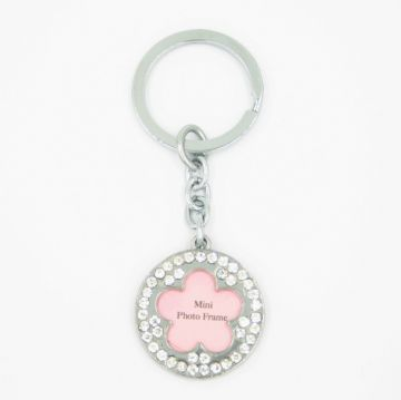 Diamonte flower key ring